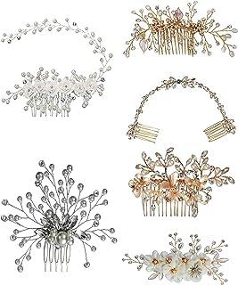 Passat 6 种银/金色闪亮银和透明水晶花瓣新娘、婚礼或舞会发梳配件 P003