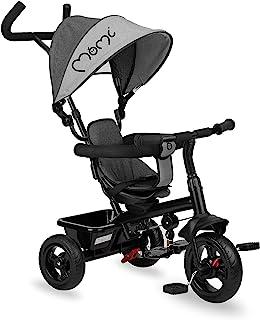 MOMI IRIS 5 合 1 儿童三轮车,带手推车功能,适合 9 个月以上的儿童使用,坚固的框架,360 ° 座椅带 5 点式*带,脚踏板,遮阳顶,PU车轮,推杆