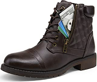 VEPOSE 女式及踝靴系带时尚战斗风格工作低跟女靴