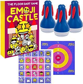 AMEBIBO 草坪飞镖游戏 - 室内室外儿童游戏,适合儿童和成人的院子家庭游戏 - 地板飞镖游戏,主题 - 表情符号