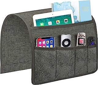 Joywell 沙发扶手收纳架,遥控支架,适用于躺椅,臂椅盒,带 5 个天鹅绒口袋,适用于杂志、平板电脑、手机、iPad、灰色