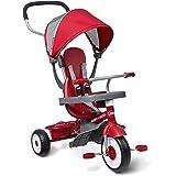 Radio Flyer 四合一 Stroll 'N 三轮车,红色幼儿三轮车,适合 9 个月 - 5 岁,50.48 厘米…