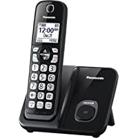 Panasonic 可伸缩无绳电话带电话阻塞 1 个听筒 7.20in. x 5.40in. x 4.80in. 黑色