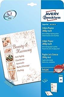 AVERY Zweckform 2581 Superior 喷墨纸(A4,双面涂层,哑光,200 克/平方米,25 页)
