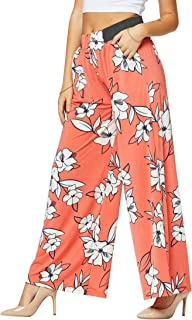 优质女式阔腿裤口袋 - 高腰 - 纯色印花设计
