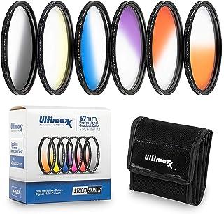 77 毫米 Ultimaxx 专业六件套渐变色滤镜套件(橙色、黄色、蓝色、紫色、红色、灰色)适用于相机镜头,带 77 毫米滤镜螺纹和保护滤镜袋