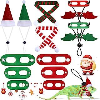 Xuniea 6 件圣诞蜥蜴皮革龙蝙蝠翅膀胸背带圣诞老人帽子围巾宠物蜥蜴圣诞服装胡子龙背带绳套装适用于壁虎、伊瓜那、蜥蜴两栖动物和宠物动物