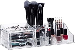 Relaxdays 化妆收纳盒丙烯酸,唇膏架,2个抽屉,收纳收纳盒,首饰盒,各种 颜色 透明 H x B x T: ca. 9 x 30,5 x 15 cm 10025093_50