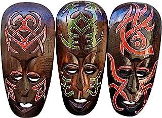 华丽的 (3) 套手电镀木非洲风格墙壁装饰面具
