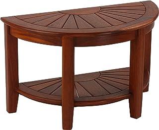 Bare Decor Chesser 半圈长椅,实心柚木,17 英寸(约 43.2 厘米)高,棕色