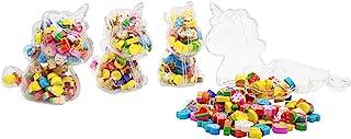 4 个独角兽盒各种微型橡皮擦套装 500 件新奇迷你橡皮擦带独角兽盒,适用于学生*、*励、派对礼品和学校用品(独角兽)