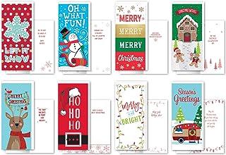 B-THERE 一包 24 个超值装加长圣诞贺卡 - 异想天开、烫金和闪光饰面 带信封