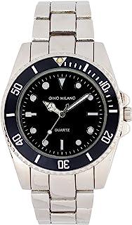 男士 40 毫米经典风格金属表带手表带专业潜水员表圈和可调节表带带折叠式表扣 - 12 小时指数标记以精确计时 - 石英机芯