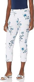 SLIM-SATION 女士套穿印花紧身露脐裤,带假 L 口袋