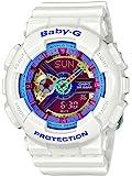 Casio卡西欧 BA112-7A 女士Baby-G系列 双显红色表盘白色树脂表带世界时间闹钟腕表手表