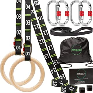 aweGym 体操环带可调节肩带,1.1 英寸(约 2.8 厘米)奥林匹克戒指,健身环,适用于全身锻炼,*环锻炼设备 - 家庭、户外、Crossfit 车库向上排训练