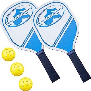 Park & Sun 运动木制匹克球桨套装:包括两个 15 英寸木制桨、3 个黄色匹克球和设备袋