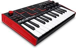 AKAI 专业 MPK 迷你 MK3 – 25 键 USB MIDI 键盘控制器,带 8 个背光鼓垫,8 个旋钮和音乐制作软件