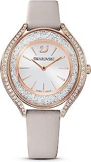Swarovski 施华洛世奇 女式 Crystalline Aura 玫瑰金石英手表 皮革表带 灰色 3(型号:5519450)