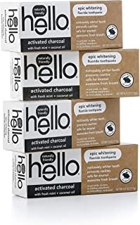 Hello Oral Care 活性炭氟化物*牙膏,素食和SLS,4 支装