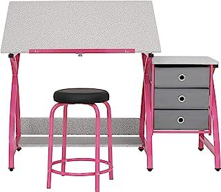 SD STUDIO DESIGNS Comet Center Plus 2 件套 工艺桌和配套凳子套装 带存储和可调节顶部,粉色/飞溅灰色
