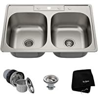 美国Kraus 克劳思1.2mm厚304不锈钢拉丝厨房双盆水槽 一体成型 台上式安装KTM33 配304不锈钢下水器 赠…
