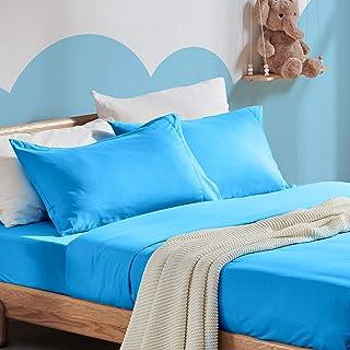 SLEEP ZONE 儿童印花床单套件超柔软轻质磨毛超细纤维单人床床单,适合女孩男孩,4 件套,带深口袋,加大双人床,纯蓝色