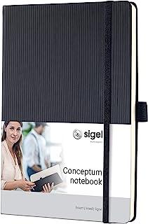 Sigel conceptum系列 黑色绑带硬封面竖纹硬封面商务笔记本A5横线内页