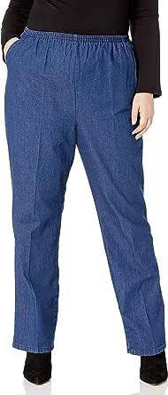 Chic 经典系列女式加大码棉质松紧腰长裤 Original Stonewash Denim 18 Petite