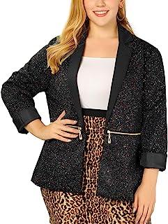 uxcell 女式加大码拉链长袖喷漆印花外套