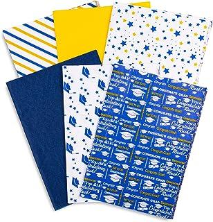 Whaline 毕业纸巾散装 6 种风格礼品包装纸白色蓝色金色祝贺毕业生星毕业帽装饰艺术纸巾DIY工艺毕业派对礼品包装用品,90 张