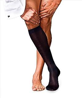 FALKE 男式 4 号纯丝绸及膝袜 - 92% 丝绸,黑色、*蓝或巴露红,英国尺码 5.5-11 (欧码 39-46),1 对 - 奢华面料,独特的光泽,手工连接和造型