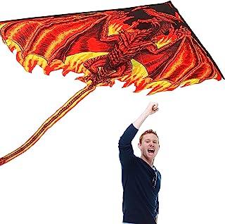 Novelsite 龙风筝 适合成人和儿童 – 易于飞行的经典龙风筝,带有时尚的长尾和细绳 – 160.04 x 218.44 厘米大型风筝,适合儿童、海滩、公园和户外活动