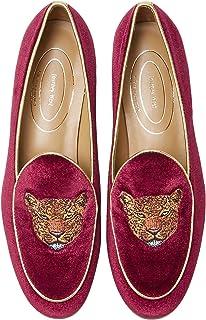 Journey West 女式 Penny 乐福鞋平底鞋刺绣天鹅绒鞋一脚蹬比利时乐福鞋 女式