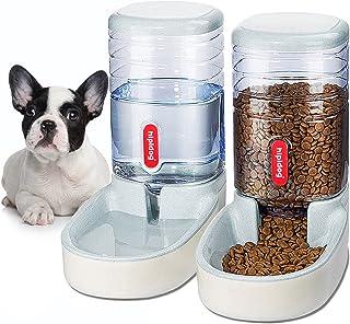 XingCheng-Sport 2 合 1 宠物喂食器 自动猫喂食器和饮水器 适用于小型中大型犬猫 大容量 3.8 升(浅灰色)