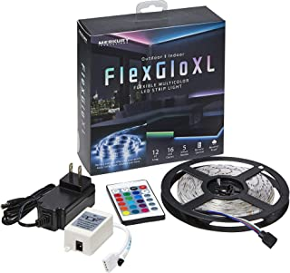 Merkury Innovations LED 灯条防水 120 个 LED 12 英尺(约 3.8 米)RGB SMD 5050 LED 绳灯颜色变化 LED 条灯带 24 键红外遥控器 12 伏电源电视背光套件带遥控器