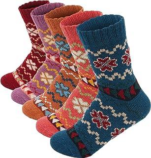 5 双装女式羊毛袜冬季柔软保暖针织羊毛船袜厚实针织舒适冬季袜女士赠品 均码