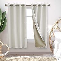 Deconovo 客厅窗帘色织稻草图案完全遮光窗帘,适用于客厅和滑动玻璃门 132.88 x 182.88 cm 奶油色…