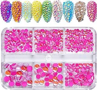 540 件闪亮*水钻套装 3D 极光糖果彩色水钻珠玻璃宝石多形状水钻美甲装饰美甲DIY工艺服饰鞋饰品(粉色)
