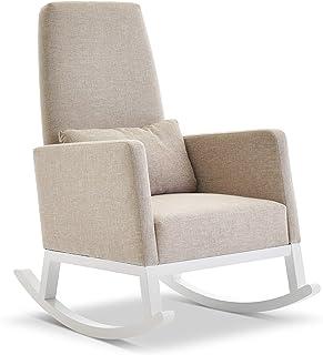 Obaby 高靠背摇椅 - 白色带燕麦靠垫