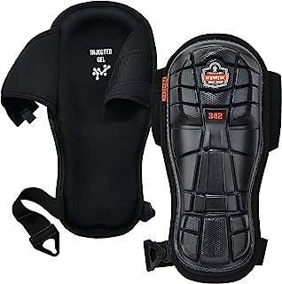 Ergodyne ProFlex 342 专业护膝,超长保护盖,注入凝胶垫技术,可调节肩带,黑色