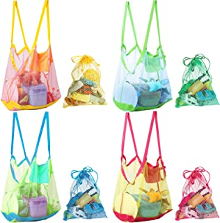 4 件网眼沙滩手提袋 XL 大号沙滩储物袋 大号沙滩玩具袋 海贝袋 带4件小型收纳袋 儿童储物袋 水果蔬菜或玩具