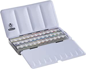 Schmincke Horadam Aquarell 半平底漆金属套装含 12 个开孔空间,一套 36 种颜色 (74436097)