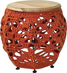 Ren-Wil Tinley I Accent 桌,小号,木质:天然,纱线:橙色