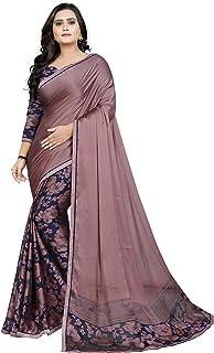 Jaanvi 时尚女式乔其纱印度民族纱丽衬衫(粉色)