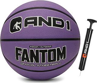 AND1 Fantom 橡胶篮球和泵 - 官方尺寸 7 (29.5 英寸)街球,适合室内和室外篮球游戏