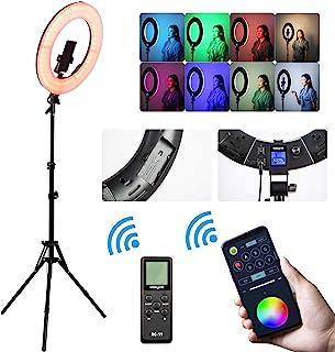 18 英寸(约 45.7 厘米) RGB 环灯套件带支架,18 英寸(约 45.7 厘米) 2500K-8500K LED 可调光圆环灯适用于摄影视频 YouTube Vimeo 肖像照明现场流