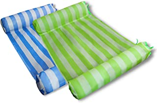 MERMAO 2 件装泳池水吊床休息室 52x27.5 成人漂浮,儿童坚固耐穿刺 PVC。包括充气泵。适合河流、湖泊、海滩(蓝色/*)