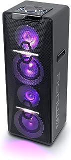 Muse M-1950 DJ PA 设备 500 W 带 CD、蓝牙和灯光效果(USB、AUX、麦克风、遥控器)黑色