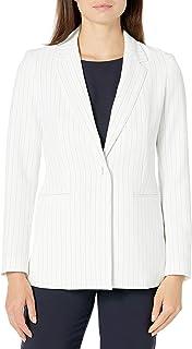 NINE WEST 女式 1 粒扣缺口领细条纹针织夹克